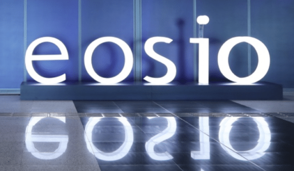 eosio logo in large lit up letter.