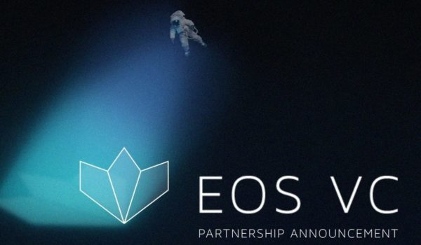 """Astronaut floating over the EOS VC logo with a caption underneath reading """"Partnership Announcement."""""""