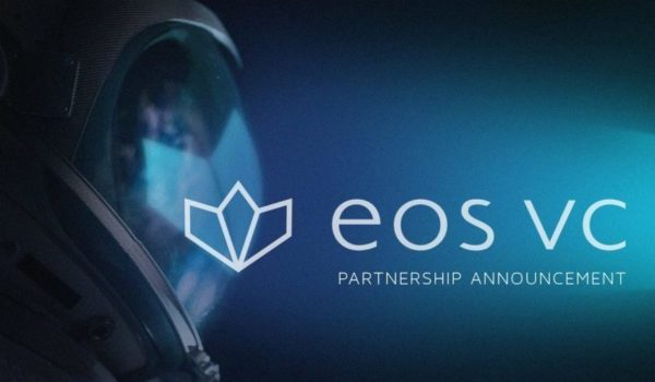"""Astronaut over a blue background with the eos vs logo and a caption reading """"Partnership Announcement."""""""