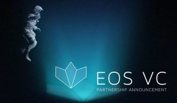 """Astronaut hovering over the eos vs logo and a caption reading """"Partnership Announcement."""""""