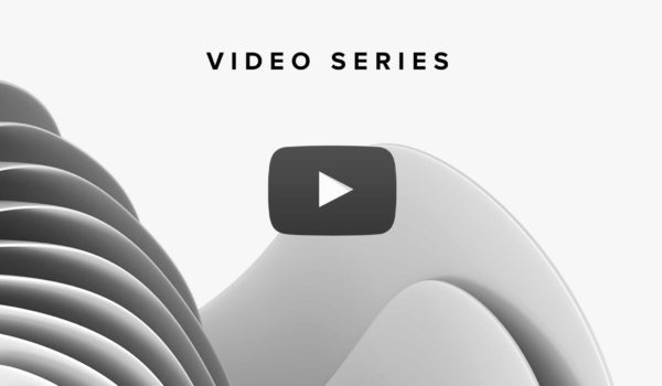 """Geometrical design with a play button icon under the caption """"Video Series."""""""